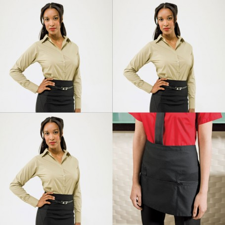 Womens Barwear Set 2 - Three Long Sleeve Poplin Shirts & one Apron
