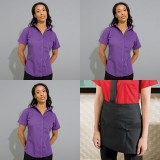 Womens Barwear Set 1 - Three Short Sleeved Poplin Shirts and one apron
