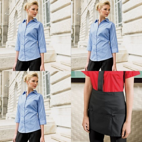 Womens Barwear Set 4 - Three 3/4 length Sleeve Poplin Shirts & one Apron