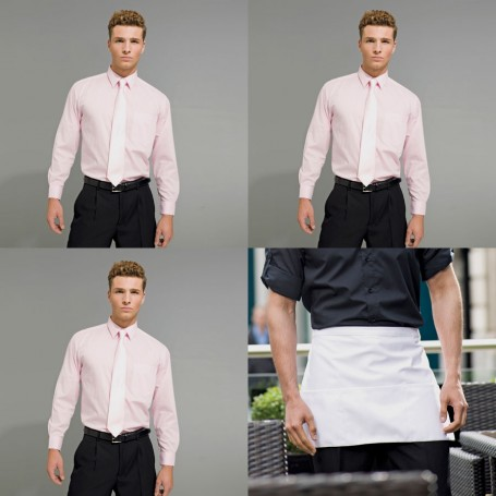 Mens Barwear Set 2 - Three Long Sleeve Poplin Shirts & one Apron
